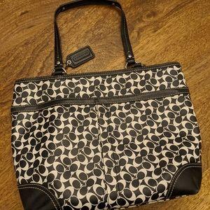 Coach black and white tote bag.